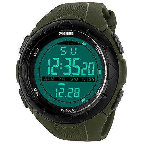 Skmei Reloj digital digital con pantalla LCD resistente al agua, multifunción, poliuretano, para hombre, 1025 (verde militar)