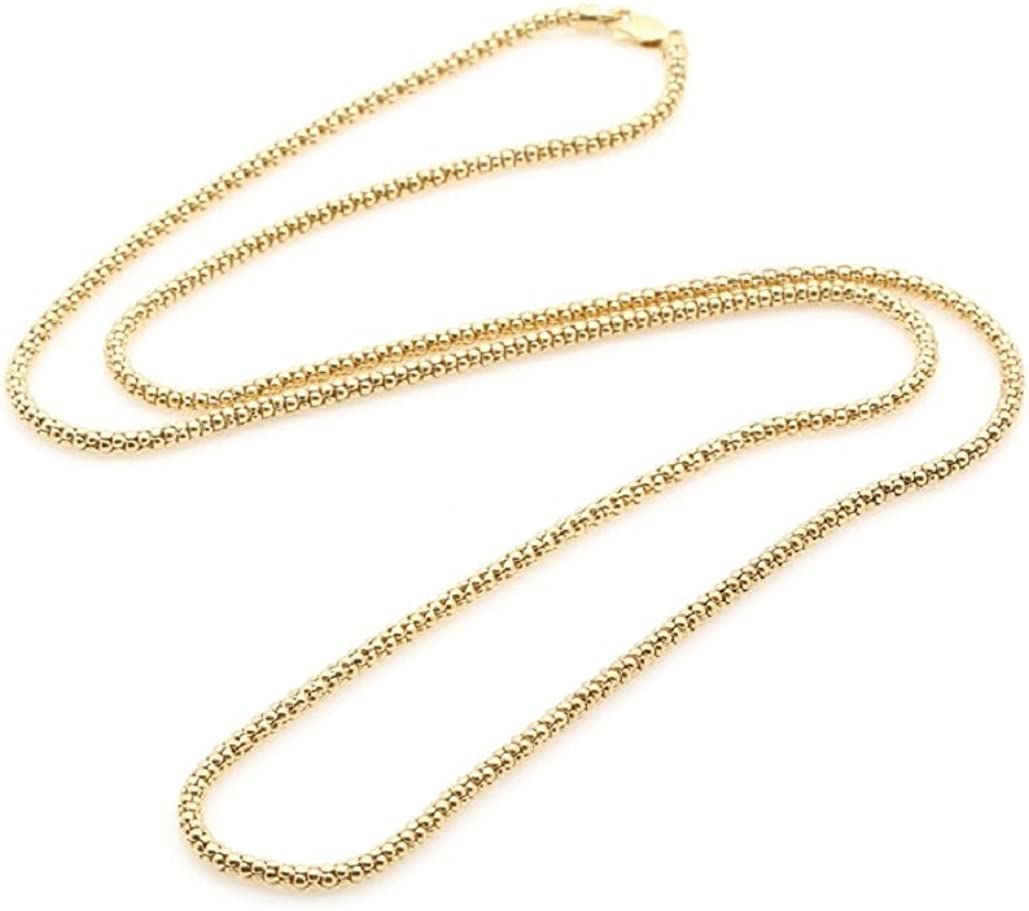 14K Solid Yellow Gold 1.4mm Popcorn chain necklace- Available in multiple lengths- Made in Italy