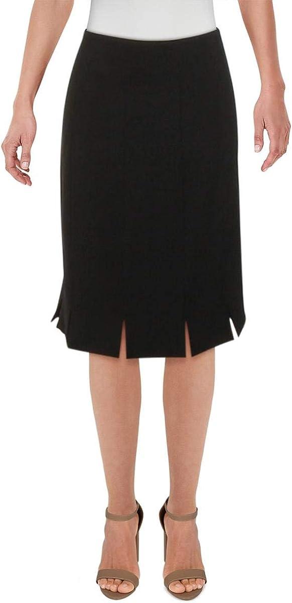 Kasper Womens Black Zippered Above The Knee Pencil Wear to Work Skirt Size 14