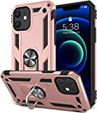 SATLITOG Compatible with iPhone 12 Mini Case, Military-Grade Shockproof Drop Protection Cover with Metal Rotating Kickstand for 5.4inch - Rose Gold
