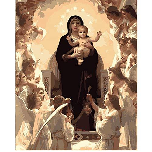 Waofe Virgen María Figura Diy Pintura Digital Por Números Arte De La Pared Moderna Pintura De La Lona De Navidad Regalo Único Decoración Para El Hogar- With Frame