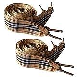 Flyingfish 2 Paare von 2.5cm Breite Schnürsenkel aus Baumwolle 120CM Beige Kariert