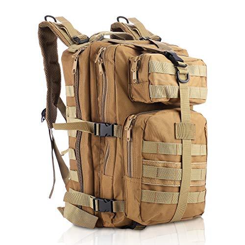 SHANNA Militärrucksack, Taktischer Rucksack 35L Armee Rucksack MOLLE Assault Pack Taktischer Kampfrucksack für Outdoor Wandern Camping Trekking Angeln Jagd (Khaki)