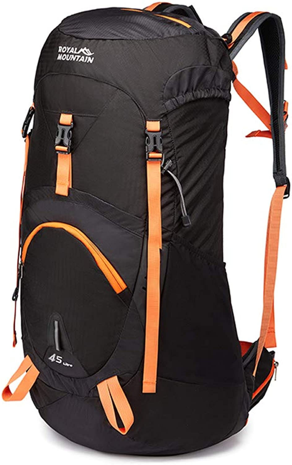Outdoor Backpack 45L55L65L Outdoor Sports Backpack Camping Hiking Waterproof Backpack Mountaineering Bag with Rain Cover Travel Hiking HBJP (color   Black, Size   77cm×35cm×22cm)
