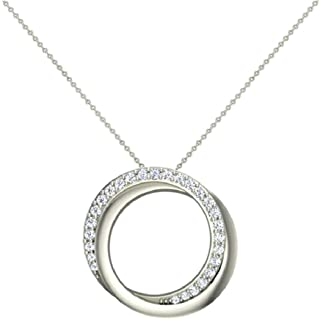 """14K Gold Necklace 0.61 ct tw Diamond Pendant Intertwined Circles with 18"""" Chain"""