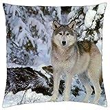 Free-shipping Funda de cojín de color gris con diseño de lobo en la nieve (18 unidades)