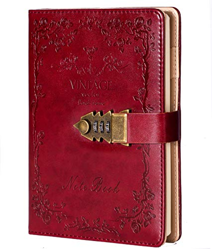 Tagebuch mit Schloss für Damen und Herren, Leder, Hardcover, liniert, A5, mit Passwortverriegelung