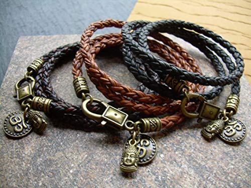 Handmade Buddha Leather Wrap Bracelet with Namaste Charms - Genuine Leather Bracelet for Men and Women - Available sizes: 6,6.5,7,7.5,8, inch or Custom