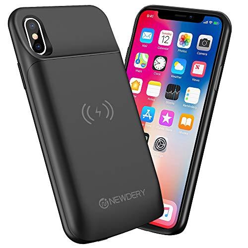 NEWDERY Coque Batterie pour iPhone X/XS/10, 6000mAh Portable Chargeur Batterie Externe Batterie Power Bank Portable Étui Batterie Chargeur Cas Protection pour iPhone X/XS/10