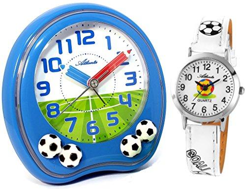 Atlanta Kinderwecker Jungen Blau ohne Ticken mit Armbanduhr Fußball - 1719-5 KAU ws
