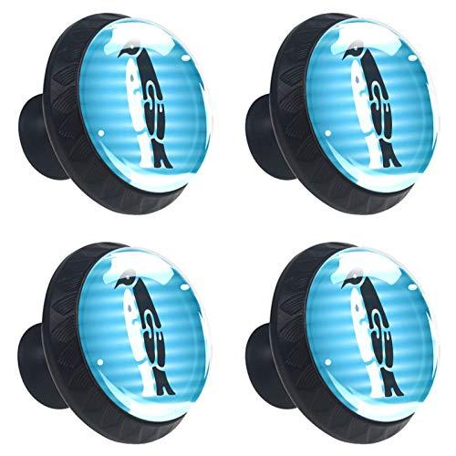 ATOMO 4 pomos de cristal de pingüino blanco y negro de 30 mm para cajón, tirador Usd para armario, cajón