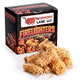 Fire Starter 32 Counts-100% Natural-10 Minutes Burn-Fireplace, Campfire, Fire Pit, BBQ Grills-Wood & Pellet Stove-Indoor/Outdoor, All-Weather Conditions-Quick Lighting Eco friendly Safe Odorless Non Toxic Wood Shaving Burning Tumbleweed Pizza Oven Chimney Camp Fire Cooking Accessories.
