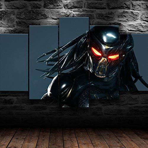 IMXBTQA Moderne Wandbilder XXL Wohnzimmer Wohnkultur 150X100Cm 5 Teilige Leinwandbilder XXL Wanddeko Geschenk Predator Alien Movie Malerei Vlies Leinwandbild 5 Teilig Kunstdruck