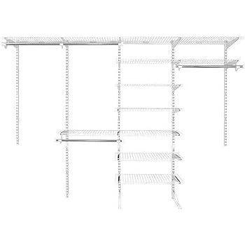 Amazon Com Rubbermaid Fasttrack 6 To 10 Ft Wide White Wire Custom Closet Organization Configuration Storage Kit Home Kitchen