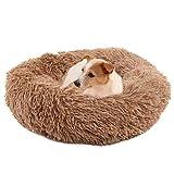 Cama para Perros y Gatos,Mascotas Calentito Cojín Redondo Suave de Felpa,Cama para Perros Gatos Mediano Pequeño - Cama Perros Redonda cojín Gatos sofá para Perros Donut (marrón80CM)