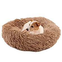 Cama para Perros y Gatos,Mascotas Calentito Cojín Redondo Suave de Felpa,Cama para Perros Gatos Mediano Pequeño - Cama Perros Redonda cojín Gatos sofá para Perros Donut (marrón50CM)