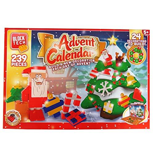 Block Tech Adventskalender voor kinderen, 239 delen, 24 decoratieve blokken, baksteen, Kerstmis, kinderen vanaf 5 jaar
