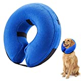 TMIIV Dog Recovery Collar for Large Dogs After-Surgery, Pet Protective Inflatable Cone Anti-bite Lick, Adjustable Soft E-Collar for Dogs and Cats (L: Neck Circumference: 42-55cm / 16.6-21.6in)