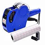 MX5500 Pricing Tag Gun with 5150 pcs White Label Gun Stickers & 2 Extra Inker Rollers, Pricing Label Gun, 8 Digits Retail Pricing Gun and Labels for Grocery Store, Food (Blue)