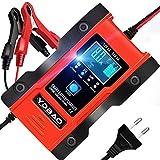 YDBAO Cargador de Baterías Coche Moto 6A 12V/24V con Múltiples Protecciones Cargador Baterías Litio Pantalla LCD para Batería de Plomo y Batería de Litio Coches Motos