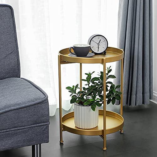 ErZhuiZi Round Metal End Table,Coffee Round Table,2 Tier Removable Tray Side Table Nightstand, Bedside End Table Tray Sofa Side Snack Table Side for Living Room Bedroom,Gold