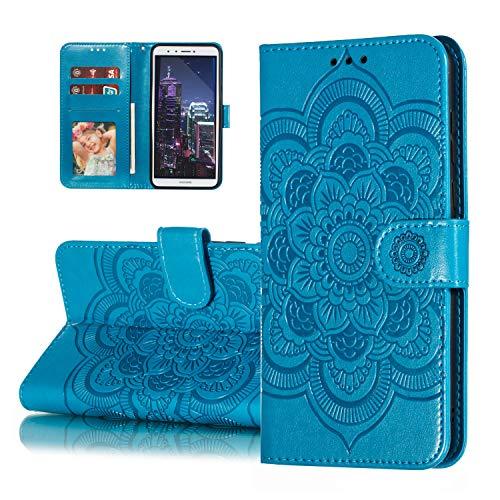 HMTECH Huawei Y6 2018 Hülle,Für Huawei Y6 2018 Handyhülle Prägung Mandala-Blume Flip Hülle PU Leder Cover Magnet Schutzhülle Ständer Handytasche für Huawei Y6 2018,LD Mandala Blue