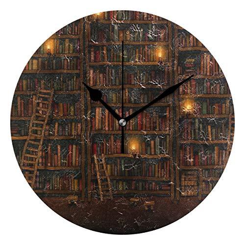 Montoj - Reloj de pared con estante retro, funciona con pilas, tamaño grande, para colgar
