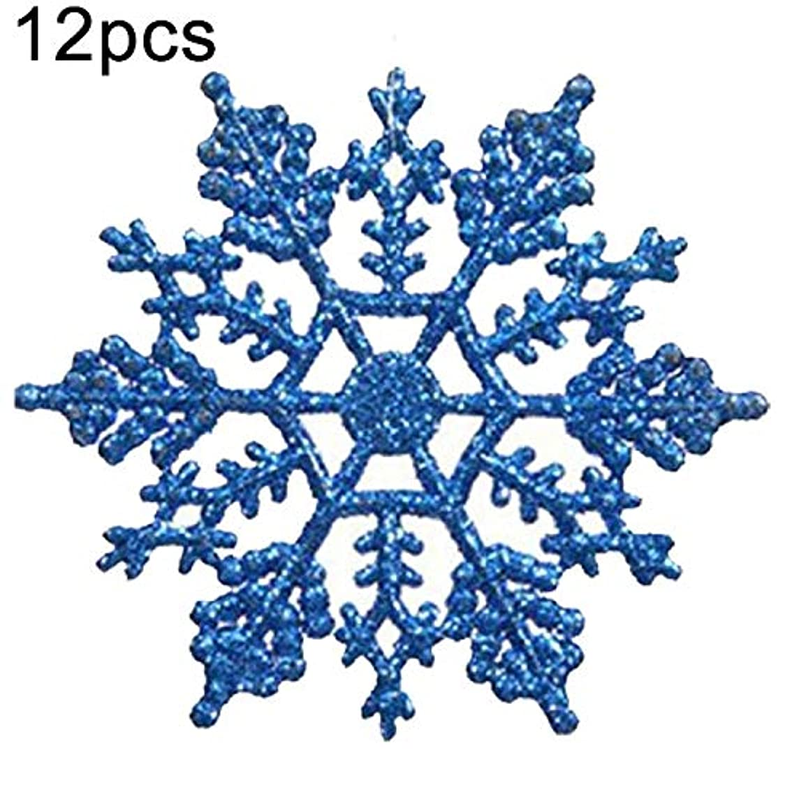 YUANGH 12 PCSアクリルスノーフレークピース装飾ペンダントルースパウダー、直径さ:10cm(ダークブルー)クリスマスツリーの装飾朱 YUANGH123 (色 : Blue)
