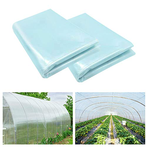 SHANGXING 2 Pack Greenhouse Clear Plastic Film-6.5 x 9.8 Ft Polyethylene Greenhouse Plant Cover Sheeting UV Resistant for Horticulture,Garden and Agriculture (2pcs)