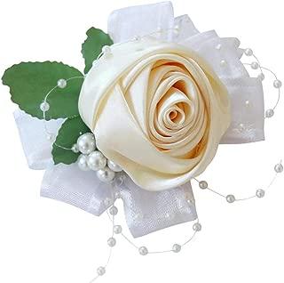 Serenable Wrist Corsage Bracelet, Corsage for Bridesmaid Bridal Shower Wedding Flower Corsage - Cream