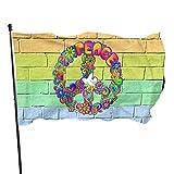xianxin Flagge/Fahne Hippie Flower Power Peace Sign 3x5 FT American Flag Outdoor Banner Family Banner Garden Banner Black