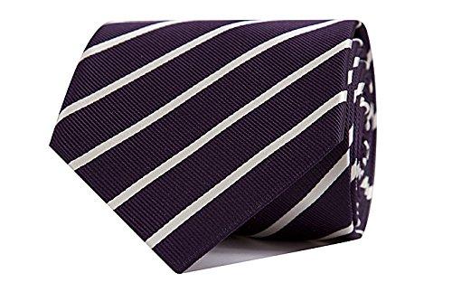 Sologemelos - Cravate Rayures - Violet, Blanc 100% soie naturelle - Hommes - Taille Unique - Confection artesanale Made In Italy