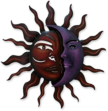 NOVICA Red Purple Sun and Crescent Moon Large Steel Cutout Celestial Indoor Outdoor Wall Art 'Romantic Duality'
