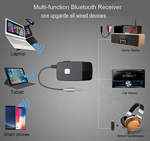 Bluetooth 4.2 Receiver for Home Stereo, Wireless Audio Adapter with 3.5mm or RCA Aux Jack for Car Speaker, HIFI Music Streaming with Advanced CSR Chip, 16 Hours Playtime, 1 Second Turn On/Off 5