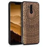 kwmobile Holz Schutzhülle für Huawei Mate 20 Lite - Hardcase Hülle mit TPU Bumper Walnussholz in Indische Sonne Design Dunkelbraun - Handy Case Cover