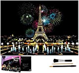 Wbeng Scratch Art Rainbow Coloring Paper, Sketchpad DIY Night View Scratchboard para niños y Adultos, Grabado Art & Craft Set, 16 '' x 11.2 '' con 3 Herramientas (Fuegos Artificiales parisinos)