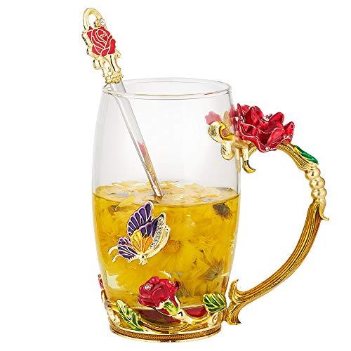 Xsayjia Mariposa Rosa/Crisantemo Copa de té de Flores Esmaltes de Vidrio Artesanal Tazas para Mujeres, Esposa, Madre, Maestra,día de la Madre, San Valentín(350ML Rose)
