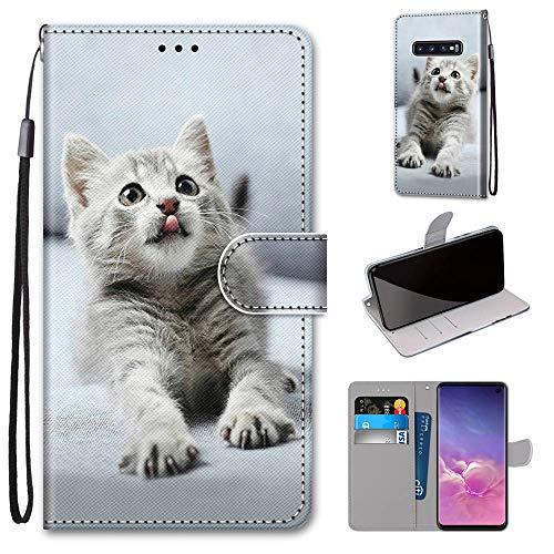 Miagon Flip PU Leder Schutzhülle für Samsung Galaxy S10e,Bunt Muster Hülle Brieftasche Case Cover Ständer mit Kartenfächer Trageschlaufe,Grau Katze