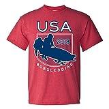 USA Bobsledding 2018 Winter Sports Games T Shirt - Medium - Heather Red
