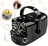 Zerhunt Bubble Machine, Durable Automatic Bubble Blower for Kids, Operated by Plug in or Battery with 2 Speed Level, Black
