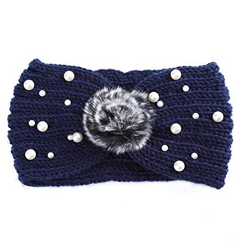 Turbantes Headband Diademas para Mujer Turbantes Diadema con Nudo De Perlas para Mujer Y Niña, Tejido Cálido De Ganchill