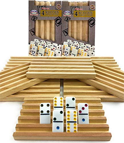 Matty#039s Toy Stop Deluxe Solid Wood Domino Trays 4 Count Game Bundle  2 Pack 8 Trays Total