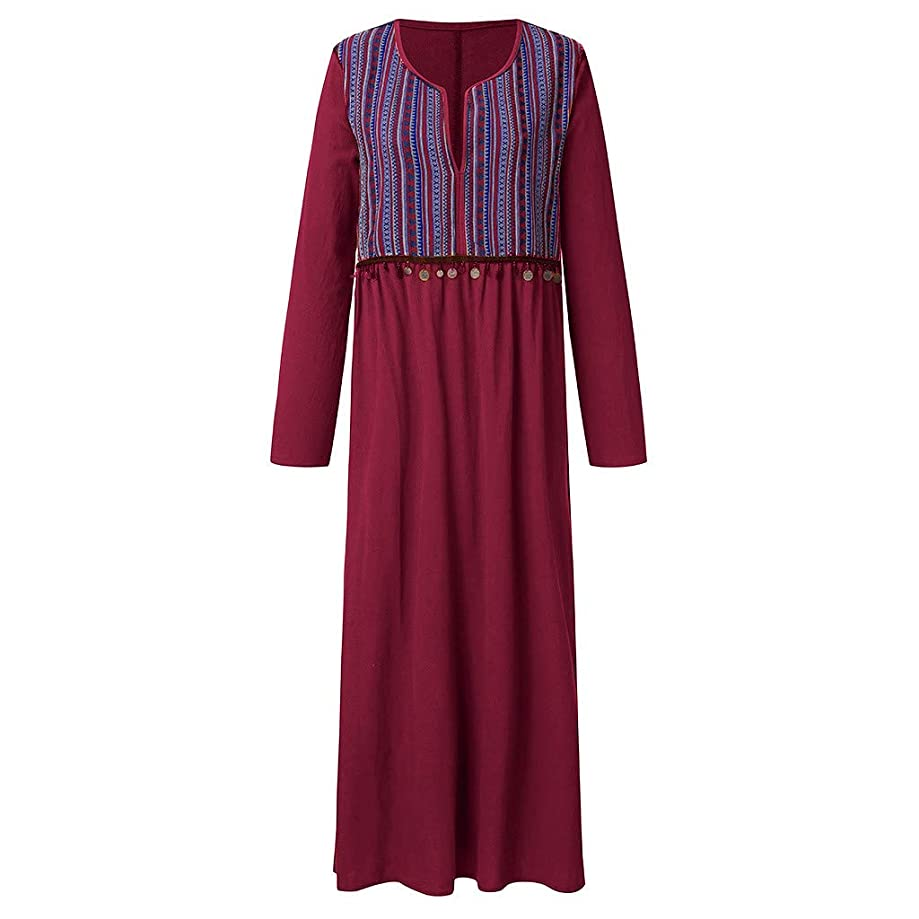 Tantisy ??? Women's Vintage Plus Size Print Maxi Dress National Style V-Neck Summer Casual Dress Sleeveless/Long Sleeve