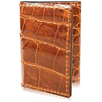 Genuine Alligator Skin Trifold Leather Wallet Handmade with 9 Card Slots  Cognac