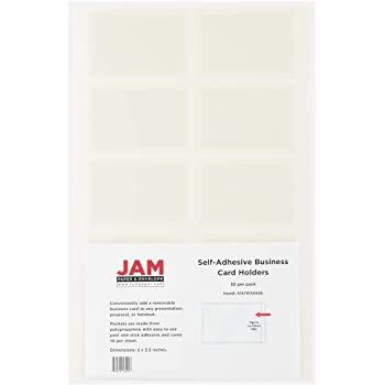 JAM PAPER Self-Adhesive Business Card Holders - 2 x 3 1/2 - Clear - 50 Label Pockets/Pack