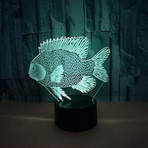 Peces creativas luces 3d ilusión colorida luz nocturna USB habitació