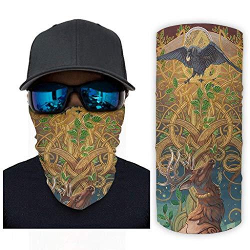 Colorido árbol de la vida celta cuervo alce cuervo arte nórdico animal mitología estampado bandana máscara facial protección solar bufanda cara cara bufanda