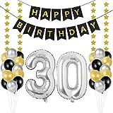 Globos 30 Cumpleaños, decoracion 30 años, Happy Birthday Bandera Feliz Cumpleaños 30 Años, Número 30 Globos de Papel Plata para Hombres y Mujeres Adultos Oro Negro Decoración de Fiesta
