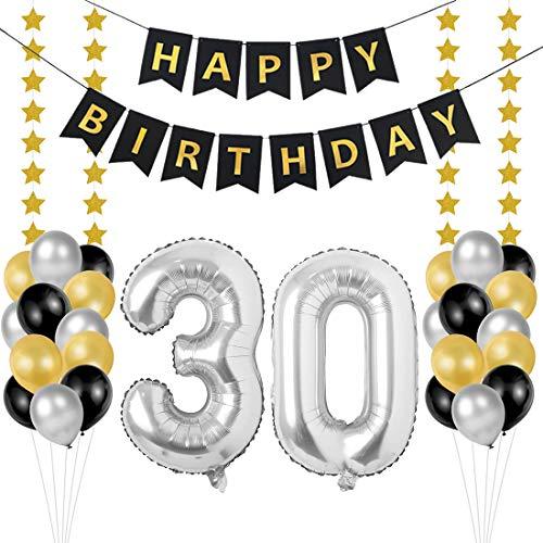 30 Geburtstag Dekoration Set, Deko Geburtstag 30, Geburtstagsdeko Zahlen 30 Jahre Luftballons Silber folienluftballon und 24 Perle Ballons Schwarzes Gold Silber mit 1 Happy Birthday Banner