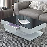 CLIPOP Hochglanz Glas Couchtisch Modern Wohnzimmertisch Sofa Tisch mit 2 Schubladen rechteckig Sofa Ende Teetisch für Zuhause Wohnzimmer Büro Möbel (schwarze)
